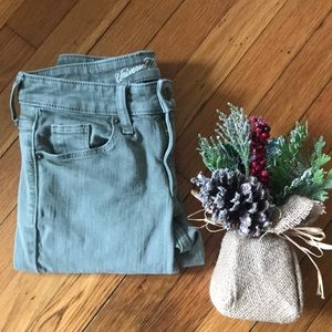 Size 0 Distressed Olive Green Straight Leg Pant
